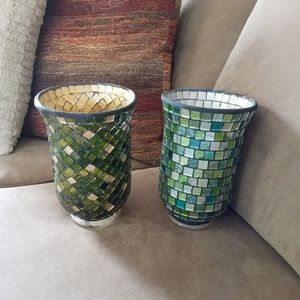 Set of 2 gorgeous Mosaic candle holders